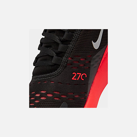 Front view of Men's Nike Air Max 270 Casual Shoes in Black/Metallic Silver/Bright Crimson
