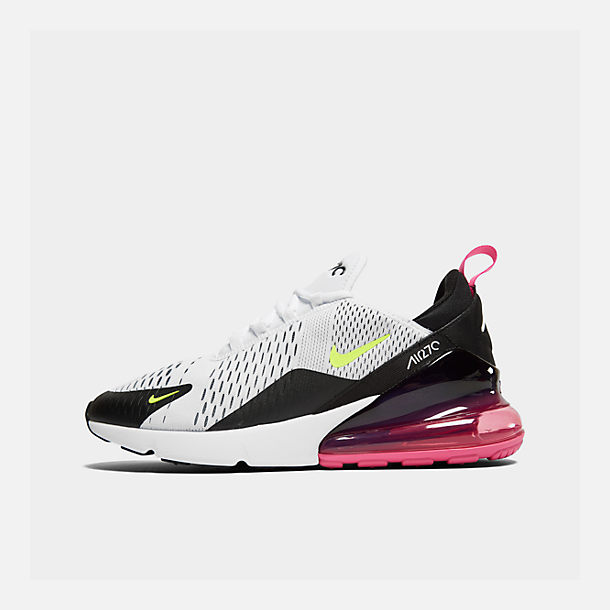 Right view of Men's Nike Air Max 270 Casual Shoes in White/Volt/Black/Laser Fuchsia