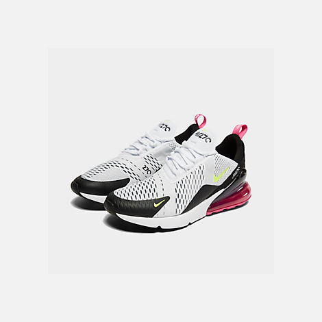 Three Quarter view of Men's Nike Air Max 270 Casual Shoes in White/Volt/Black/Laser Fuchsia