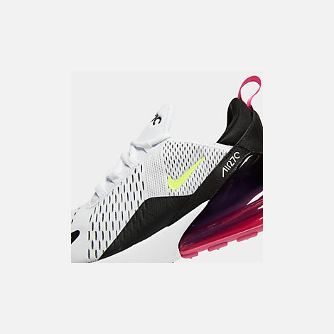 Front view of Men's Nike Air Max 270 Casual Shoes in White/Volt/Black/Laser Fuchsia