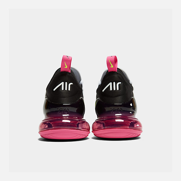 Left view of Men's Nike Air Max 270 Casual Shoes in White/Volt/Black/Laser Fuchsia
