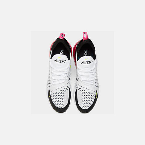 Back view of Men's Nike Air Max 270 Casual Shoes in White/Volt/Black/Laser Fuchsia