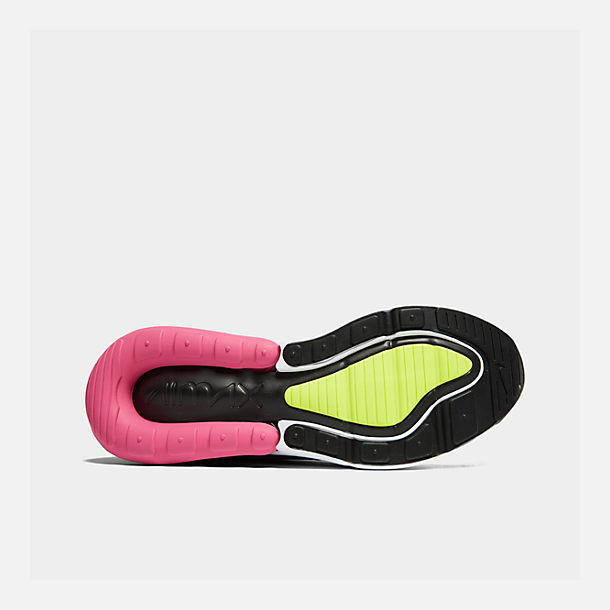 Bottom view of Men's Nike Air Max 270 Casual Shoes in White/Volt/Black/Laser Fuchsia