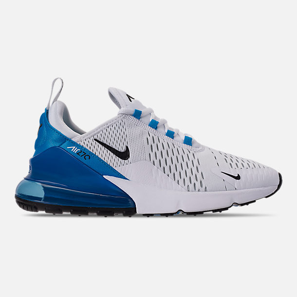 Right view of Men's Nike Air Max 270 Casual Shoes in White/Black/Photo Blue/Pure Platinum