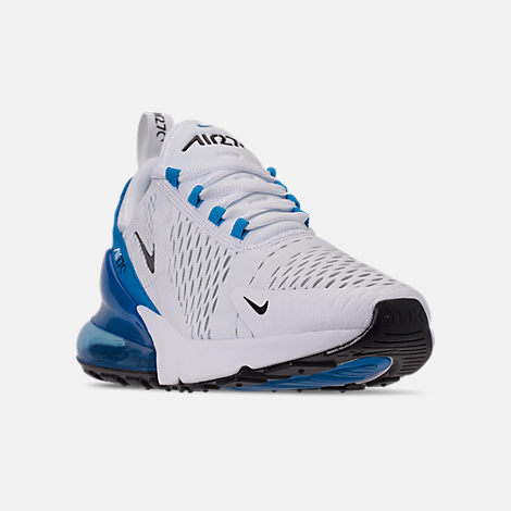 Three Quarter view of Men's Nike Air Max 270 Casual Shoes in White/Black/Photo Blue/Pure Platinum