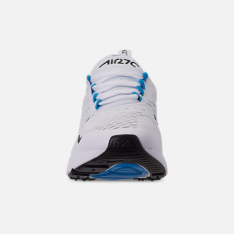 Front view of Men's Nike Air Max 270 Casual Shoes in White/Black/Photo Blue/Pure Platinum