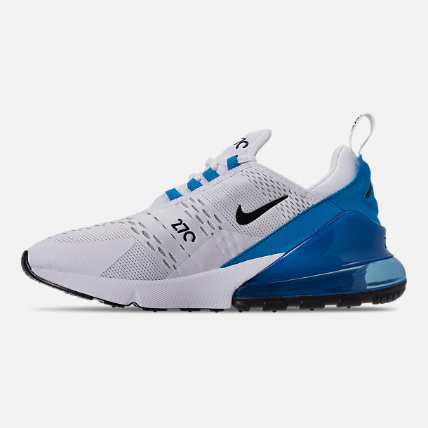 Left view of Men's Nike Air Max 270 Casual Shoes in White/Black/Photo Blue/Pure Platinum