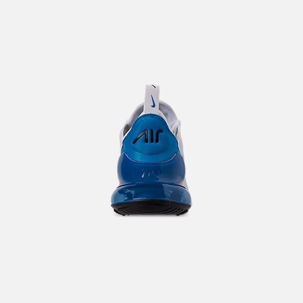 Back view of Men's Nike Air Max 270 Casual Shoes in White/Black/Photo Blue/Pure Platinum