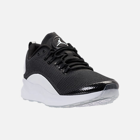 Three Quarter view of Men's Air Jordan Zoom Tenacity Running Shoes in Black/White/Black