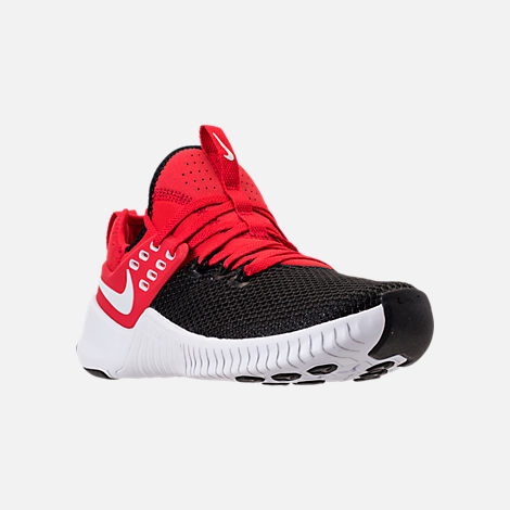 Three Quarter view of Men's Nike Free Metcon Training Shoes in University Red/White/Black