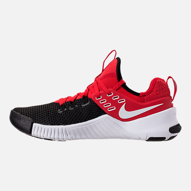Left view of Men's Nike Free Metcon Training Shoes in University Red/White/Black