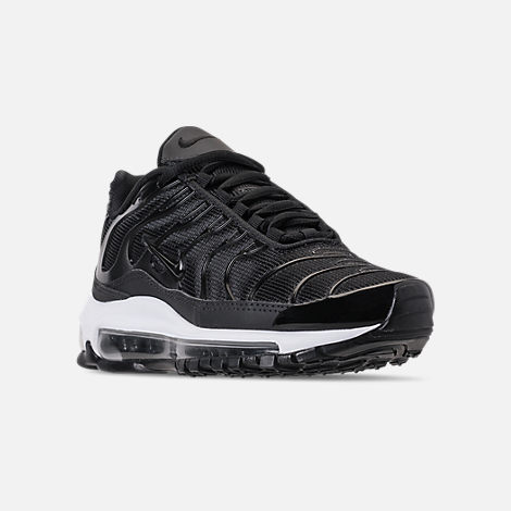 Three Quarter view of Boys' Big Kids' Nike Air Max 97 Plus Casual Shoes in Black/Anthracite/White