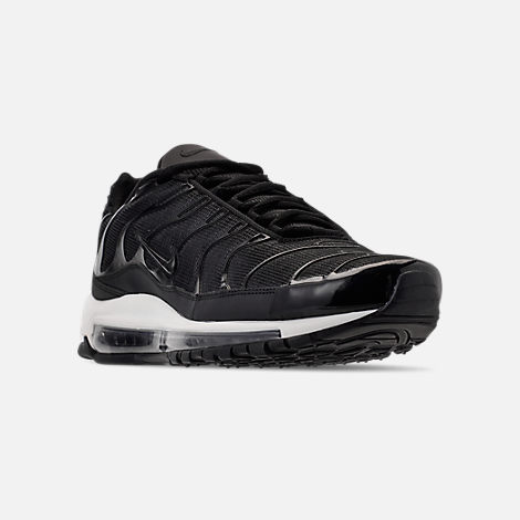 Three Quarter view of Men's Nike Air Max 97/Plus Casual Shoes in Black/Anthracite/White
