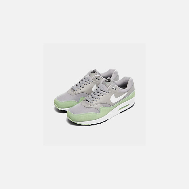 Three Quarter view of Men's Nike Air Max 1 Casual Shoes in Atmosphere Grey/White/Fresh Mint