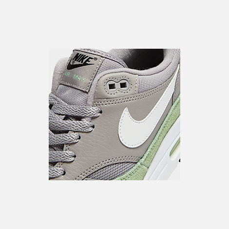 Front view of Men's Nike Air Max 1 Casual Shoes in Atmosphere Grey/White/Fresh Mint