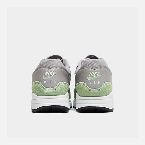 Left view of Men's Nike Air Max 1 Casual Shoes in Atmosphere Grey/White/Fresh Mint