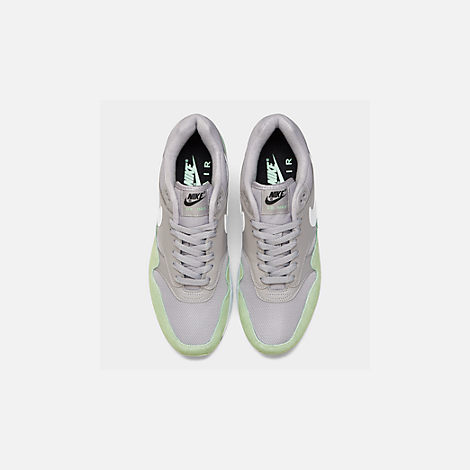 Back view of Men's Nike Air Max 1 Casual Shoes in Atmosphere Grey/White/Fresh Mint