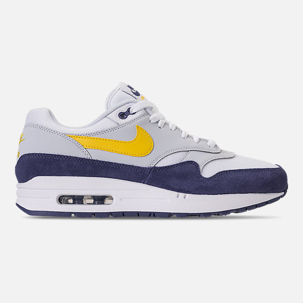 Right view of Men's Nike Air Max 1 Casual Shoes in White/Tour Yellow/Blue Recall