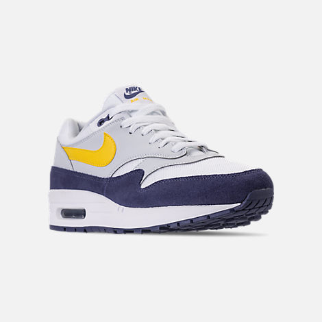 Three Quarter view of Men's Nike Air Max 1 Casual Shoes in White/Tour Yellow/Blue Recall