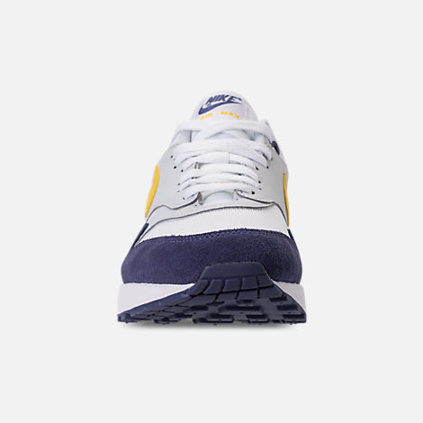 Front view of Men's Nike Air Max 1 Casual Shoes in White/Tour Yellow/Blue Recall