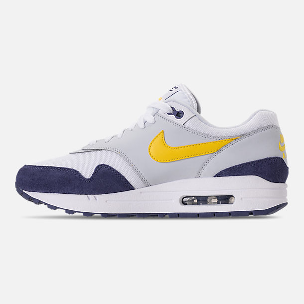 Left view of Men's Nike Air Max 1 Casual Shoes in White/Tour Yellow/Blue Recall