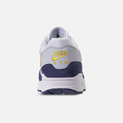 Back view of Men's Nike Air Max 1 Casual Shoes in White/Tour Yellow/Blue Recall