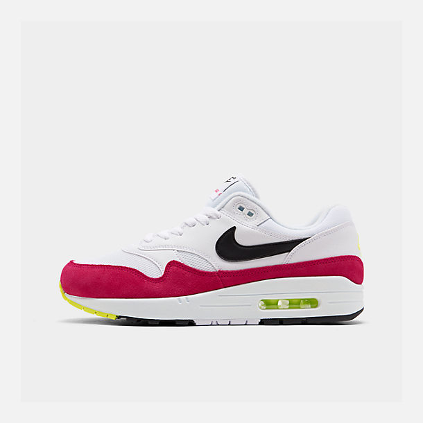 Right view of Men's Nike Air Max 1 Casual Shoes in White/Black/Volt/Rush Pink