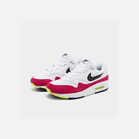 Three Quarter view of Men's Nike Air Max 1 Casual Shoes in White/Black/Volt/Rush Pink