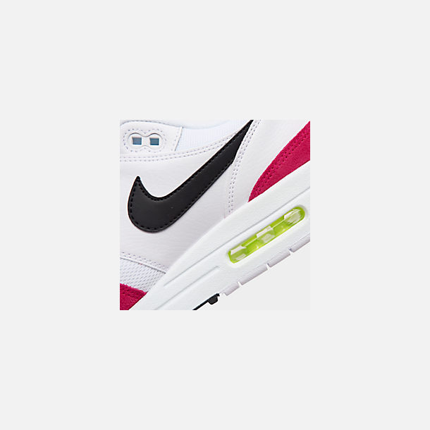 Front view of Men's Nike Air Max 1 Casual Shoes in White/Black/Volt/Rush Pink