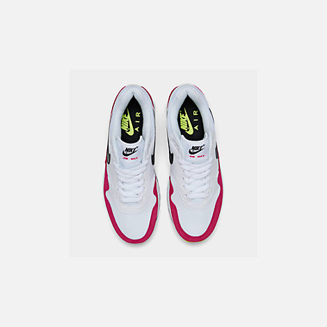 Back view of Men's Nike Air Max 1 Casual Shoes in White/Black/Volt/Rush Pink
