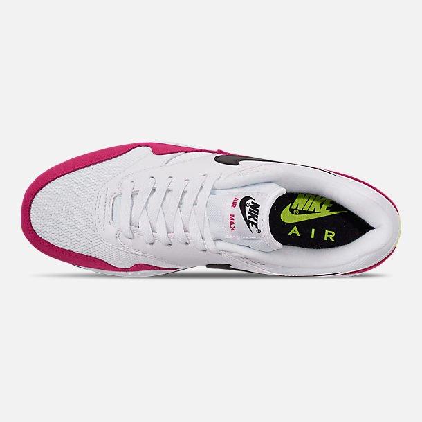 Top view of Men's Nike Air Max 1 Casual Shoes in White/Black/Volt/Rush Pink