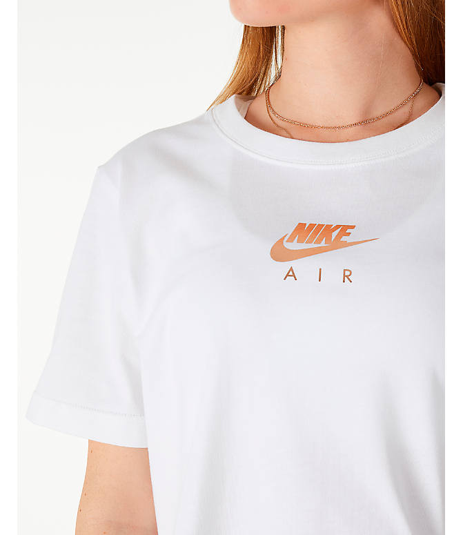 Detail 1 view of Women's Nike Sportswear Air Short Sleeve Crop T-Shirt in White/Rose Gold
