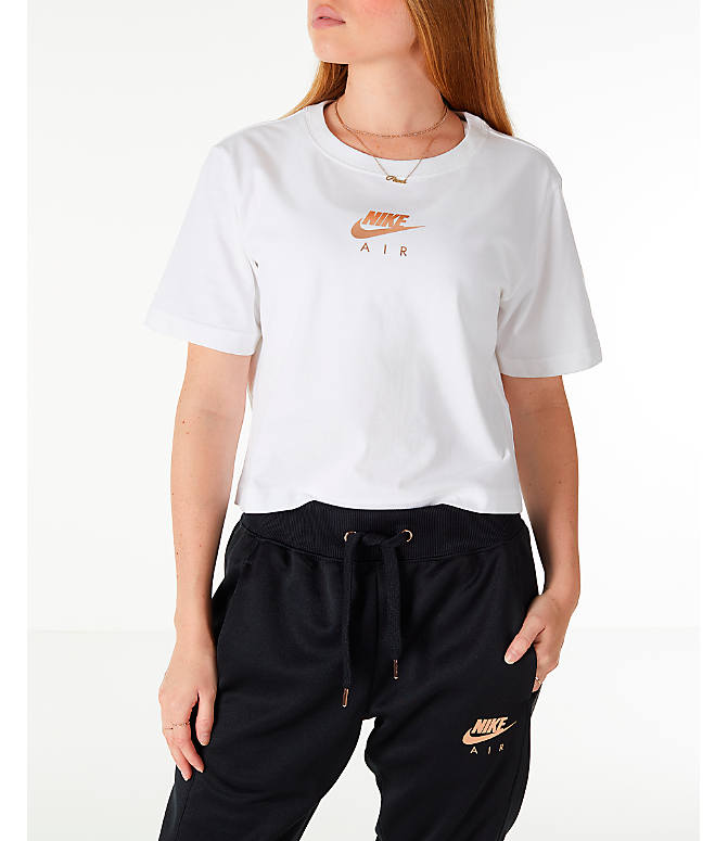 Front view of Women's Nike Sportswear Air Short Sleeve Crop T-Shirt in White/Rose Gold