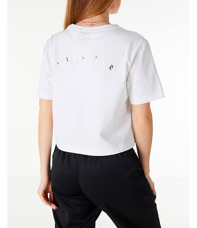 Back Right view of Women's Nike Sportswear Air Short Sleeve Crop T-Shirt in White/Rose Gold