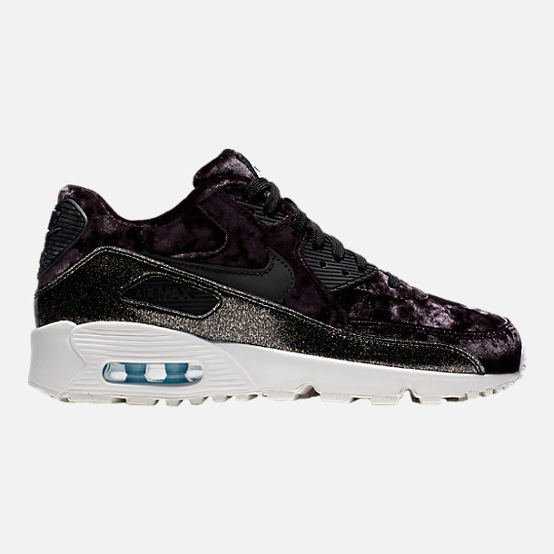 Right view of Girls' Grade School Nike Air Max 90 Pinnacle Casual Shoes in Black/Reflect Silver/Glacier Blue
