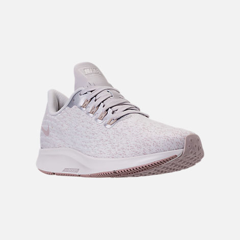 Three Quarter view of Women's Nike Air Zoom Pegasus 35 Premium Running Shoes in Vast Grey/Diffused Taupe/Summit