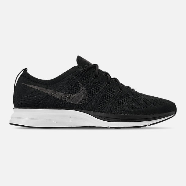 Right view of Men's Nike Flyknit Trainer Running Shoes in Black/White