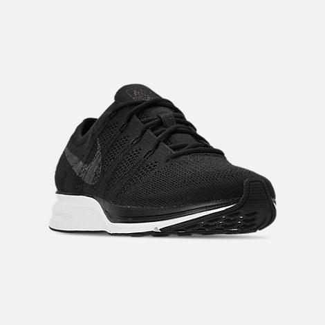 Three Quarter view of Men's Nike Flyknit Trainer Running Shoes in Black/White