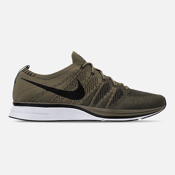 Right view of Men's Nike Flyknit Trainer Running Shoes in Medium Olive/Black/White