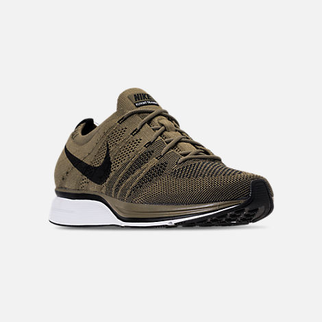 Three Quarter view of Men's Nike Flyknit Trainer Running Shoes in Medium Olive/Black/White