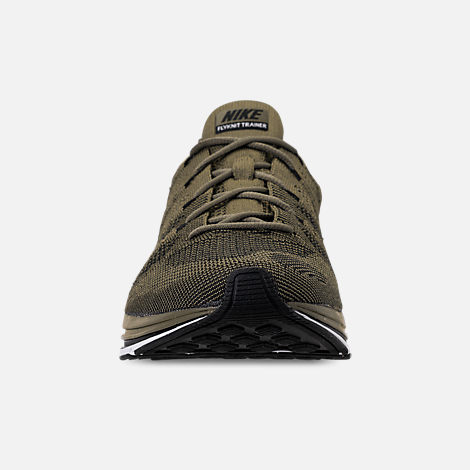 Front view of Men's Nike Flyknit Trainer Running Shoes in Medium Olive/Black/White