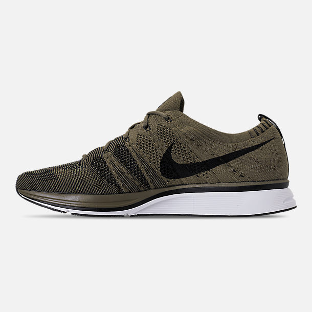 Left view of Men's Nike Flyknit Trainer Running Shoes in Medium Olive/Black/White