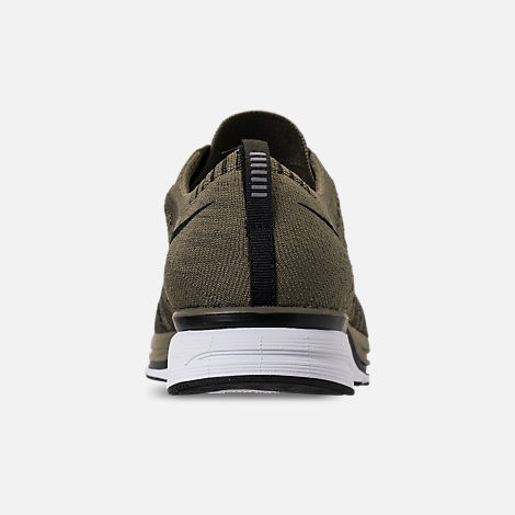 Back view of Men's Nike Flyknit Trainer Running Shoes in Medium Olive/Black/White