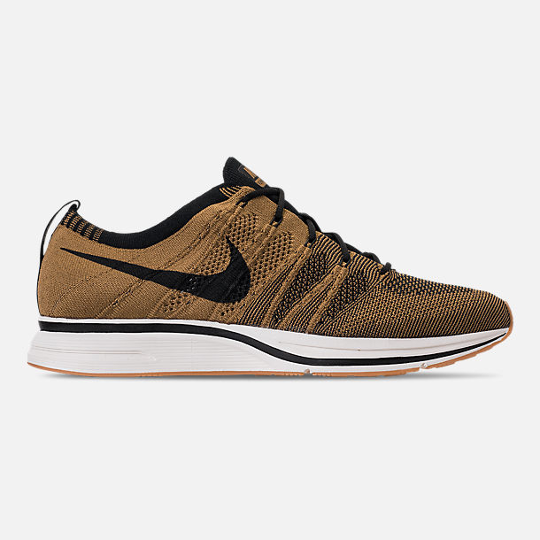 7a506fd10606 Right view of Men s Nike Flyknit Trainer Running Shoes in Golden  Beige Black Gum