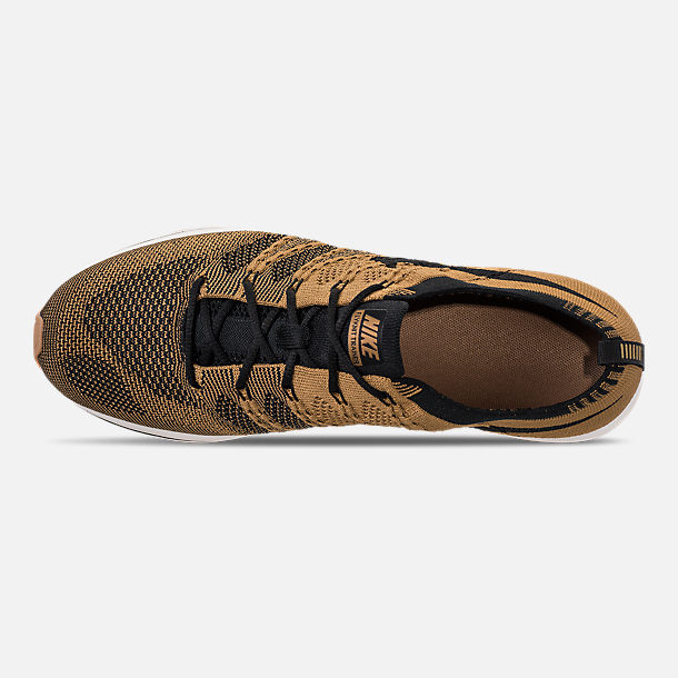 f6aa67bd3f8b Top view of Men s Nike Flyknit Trainer Running Shoes in Golden  Beige Black Gum
