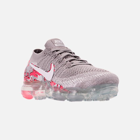 Three Quarter view of Women's Nike Air VaporMax Flyknit 2 Running Shoes in Atmosphere Grey/White/Hot Punch