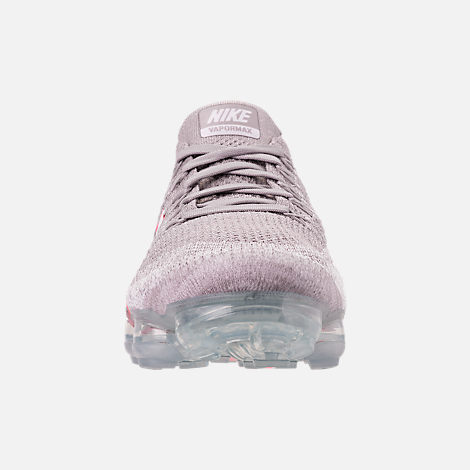 Front view of Women's Nike Air VaporMax Flyknit 2 Running Shoes in Atmosphere Grey/White/Hot Punch