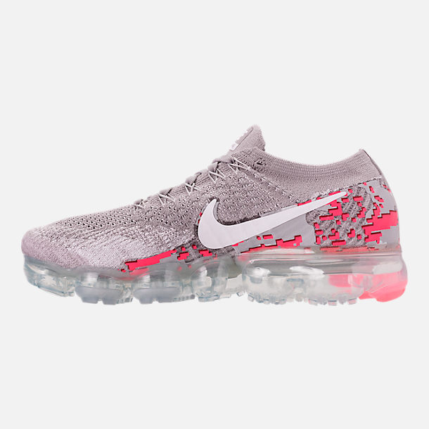 Left view of Women's Nike Air VaporMax Flyknit 2 Running Shoes in Atmosphere Grey/White/Hot Punch