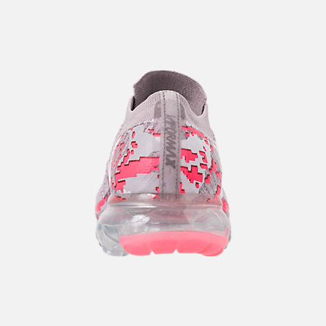 Back view of Women's Nike Air VaporMax Flyknit 2 Running Shoes in Atmosphere Grey/White/Hot Punch