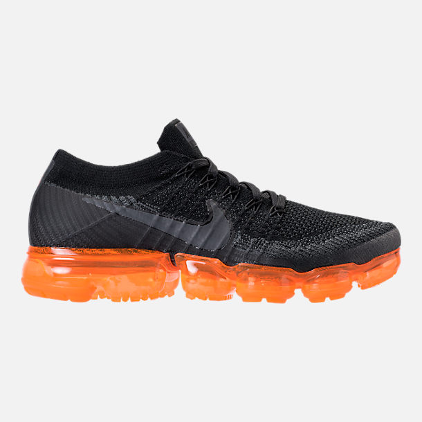 Right view of Men's Nike Air VaporMax Flyknit Running Shoes in Anthracite/Black/Rush Orange